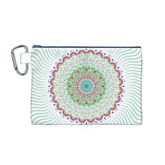 Flower Abstract Floral Canvas Cosmetic Bag (M)