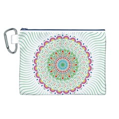 Flower Abstract Floral Canvas Cosmetic Bag (L)