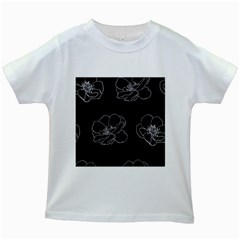 Rose Wild Seamless Pattern Flower Kids White T Shirts