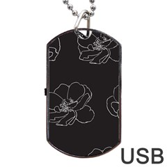 Rose Wild Seamless Pattern Flower Dog Tag USB Flash (Two Sides)