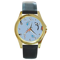 Koi Carp East Vector Seamless Round Gold Metal Watch