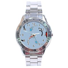Koi Carp East Vector Seamless Stainless Steel Analogue Watch