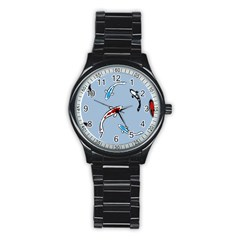 Koi Carp East Vector Seamless Stainless Steel Round Watch