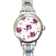 Magnolia Seamless Pattern Flower Round Italian Charm Watch