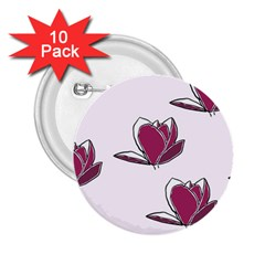 Magnolia Seamless Pattern Flower 2 25  Buttons (10 Pack)