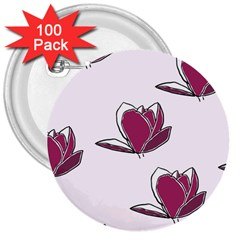 Magnolia Seamless Pattern Flower 3  Buttons (100 Pack)