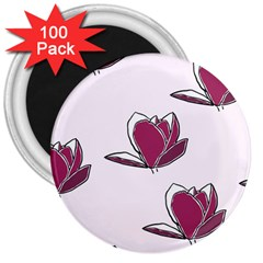 Magnolia Seamless Pattern Flower 3  Magnets (100 Pack)