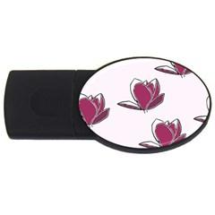 Magnolia Seamless Pattern Flower Usb Flash Drive Oval (2 Gb)