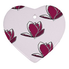 Magnolia Seamless Pattern Flower Heart Ornament (two Sides)