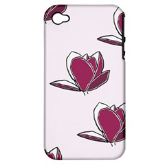 Magnolia Seamless Pattern Flower Apple Iphone 4/4s Hardshell Case (pc+silicone)