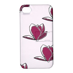 Magnolia Seamless Pattern Flower Apple Iphone 4/4s Hardshell Case With Stand