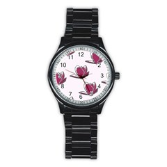 Magnolia Seamless Pattern Flower Stainless Steel Round Watch