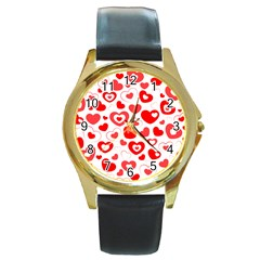 Cards Ornament Design Element Gala Round Gold Metal Watch