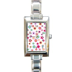 Floral Flowers Background Pattern Rectangle Italian Charm Watch