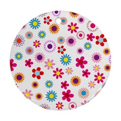 Floral Flowers Background Pattern Ornament (round)