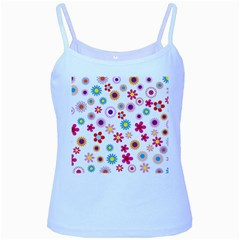 Floral Flowers Background Pattern Baby Blue Spaghetti Tank