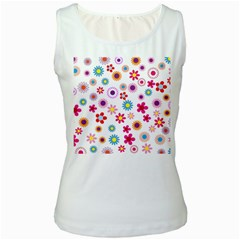 Floral Flowers Background Pattern Women s White Tank Top