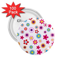 Floral Flowers Background Pattern 2 25  Buttons (100 Pack)