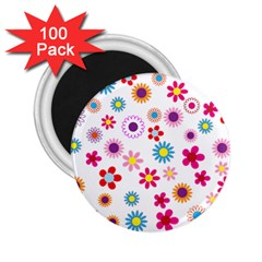 Floral Flowers Background Pattern 2 25  Magnets (100 Pack)