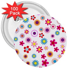 Floral Flowers Background Pattern 3  Buttons (100 Pack)