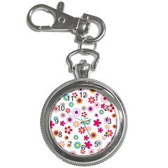 Floral Flowers Background Pattern Key Chain Watches