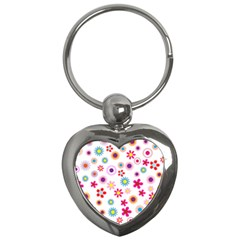 Floral Flowers Background Pattern Key Chains (heart)