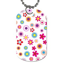 Floral Flowers Background Pattern Dog Tag (one Side)