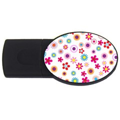 Floral Flowers Background Pattern Usb Flash Drive Oval (2 Gb)