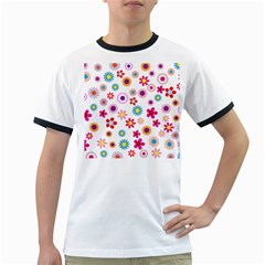 Floral Flowers Background Pattern Ringer T Shirts