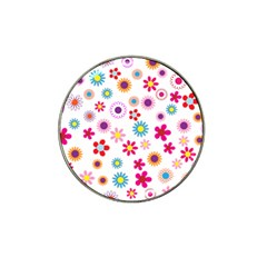 Floral Flowers Background Pattern Hat Clip Ball Marker (4 Pack)