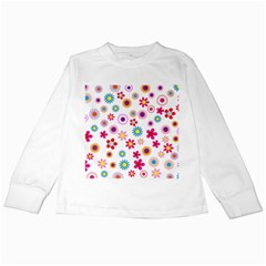 Floral Flowers Background Pattern Kids Long Sleeve T Shirts