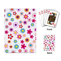 Floral Flowers Background Pattern Playing Card
