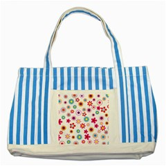 Floral Flowers Background Pattern Striped Blue Tote Bag