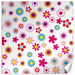 Floral Flowers Background Pattern Canvas 16  X 16