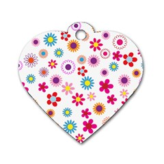 Floral Flowers Background Pattern Dog Tag Heart (one Side)