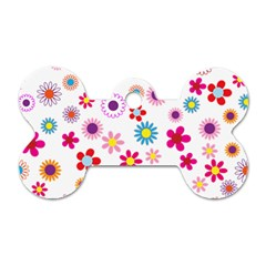 Floral Flowers Background Pattern Dog Tag Bone (two Sides)