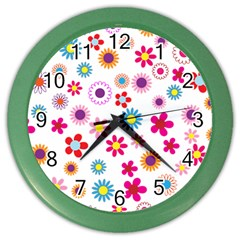 Floral Flowers Background Pattern Color Wall Clocks