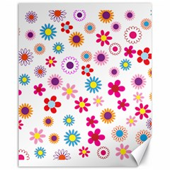 Floral Flowers Background Pattern Canvas 11  X 14