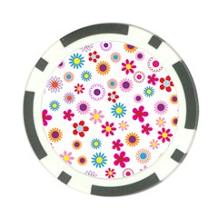 Floral Flowers Background Pattern Poker Chip Card Guard