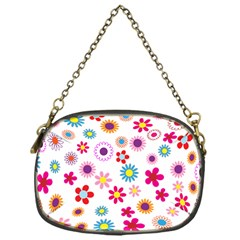 Floral Flowers Background Pattern Chain Purses (one Side)