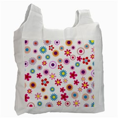 Floral Flowers Background Pattern Recycle Bag (one Side)
