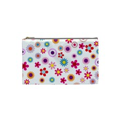 Floral Flowers Background Pattern Cosmetic Bag (small)