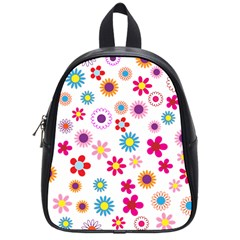 Floral Flowers Background Pattern School Bags (small)