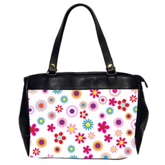 Floral Flowers Background Pattern Office Handbags (2 Sides)