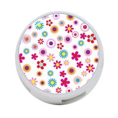 Floral Flowers Background Pattern 4 Port Usb Hub (two Sides)