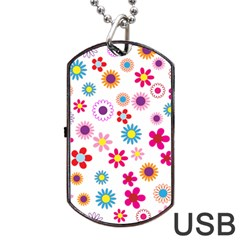 Floral Flowers Background Pattern Dog Tag Usb Flash (two Sides)