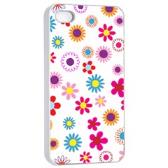 Floral Flowers Background Pattern Apple Iphone 4/4s Seamless Case (white)