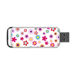 Floral Flowers Background Pattern Portable Usb Flash (two Sides)