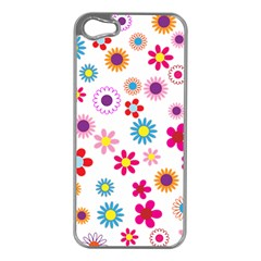 Floral Flowers Background Pattern Apple Iphone 5 Case (silver)