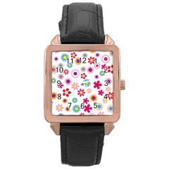 Floral Flowers Background Pattern Rose Gold Leather Watch